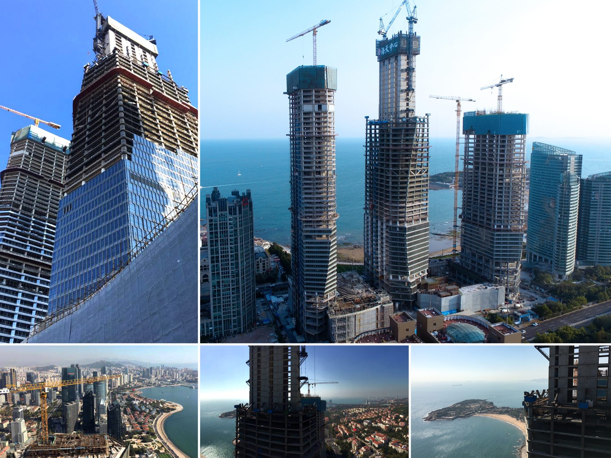 Construction progress on super high-rise project in Qingdao China
